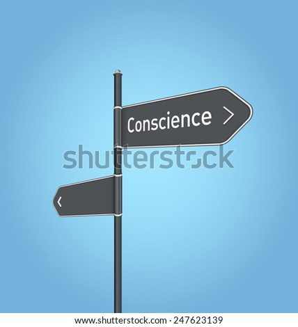 Conscience nearby, dark grey road sign concept on blue background - stock photo