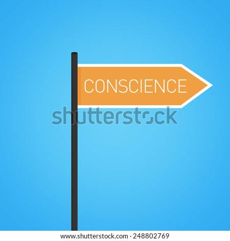 Conscience nearby, orange road sign concept, flat design - stock photo