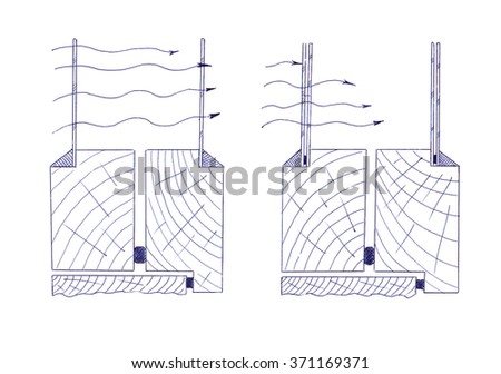 Conservation of heat due to the double glazing wooden frames - stock photo