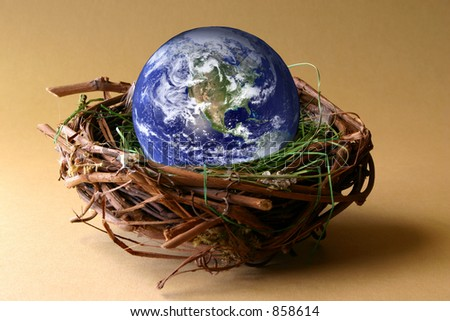 Conservation:  The earth in being protected in a nest. NASA earth capture.