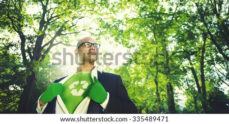 Conservative Businessman Recycle Ecology Saving Concept - stock photo