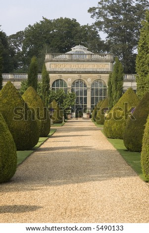 conservatory gardens stately home castle ashby northamptonshire midlands england uk - stock photo