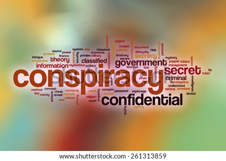Conspiracy word cloud concept with abstract background - stock photo