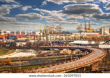 Constanta port industrial area - stock photo