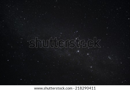Constellation Cassiopeia and our galaxy the Milky Way - stock photo