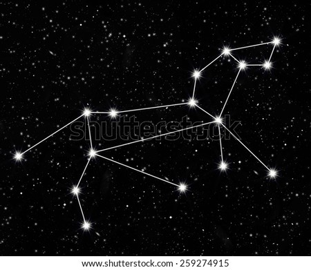 constellation Leo against the starry sky - stock photo