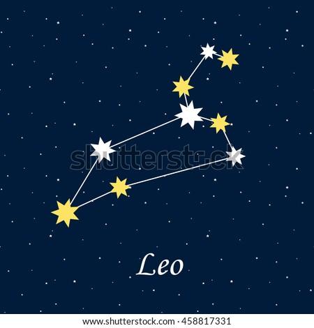 constellation Leo zodiac horoscope astrology stars night illustration raster copy. - stock photo