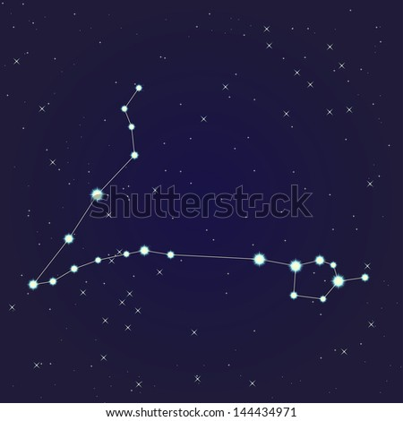 Constellation of pisces on night starry sky
