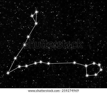 constellation Pisces against the starry sky - stock photo