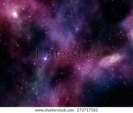 constellations and spiral nebula in a purple-blue backdrop - stock photo