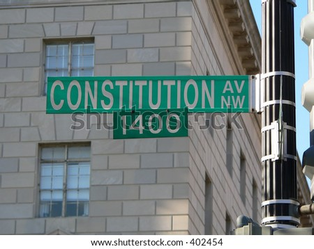 Constitution Avenue in Washington D.C. (DC) street sign