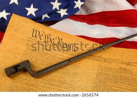 Constitution, Bayonet, and American Flag - stock photo