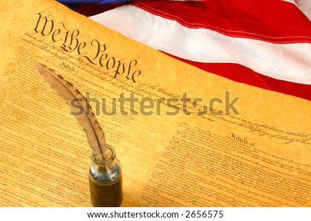 Constitution, flag of USA, and Quill Pen in inkwell - stock photo