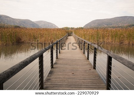 Constitution Marsh is a 270 acre wildlife sanctuary on the east coast of the Hudson River. - stock photo