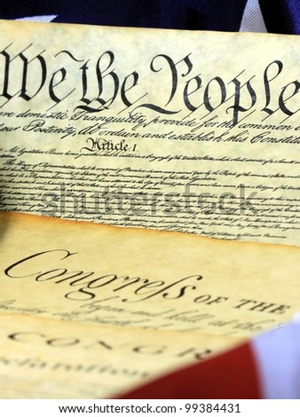 Constitution of the United States and American Flag, We The People - stock photo