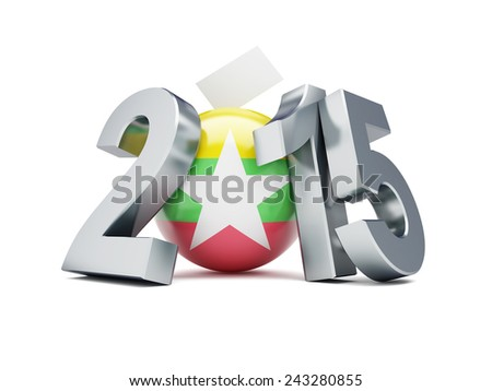 constitutional referendum in myanmar 2015  3d Illustrations on a white background  - stock photo