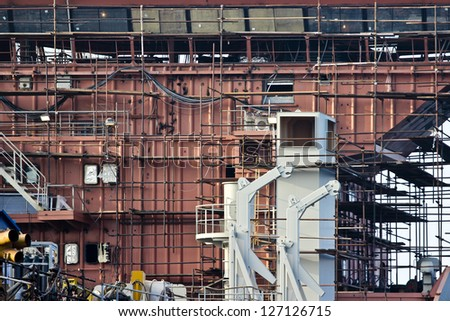 Constructing the tanker - stock photo