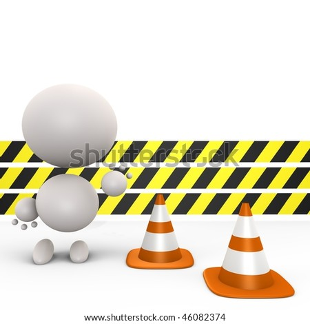 Construction ahead, do not proceed - 3d image - stock photo