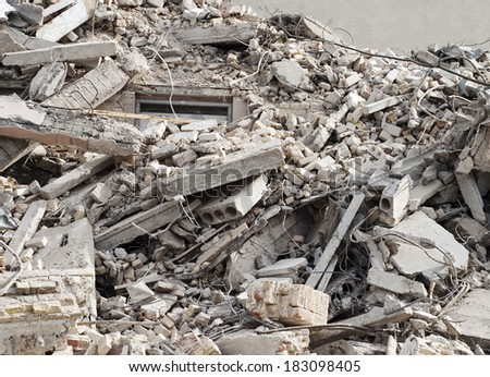 construction and demolition debris  at construction site - stock photo