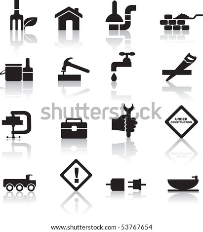 construction and diy black silhouette icon button set - stock photo