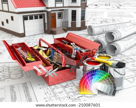 Construction and repair concept. Toolbox, paint cans and house. 3d - stock photo