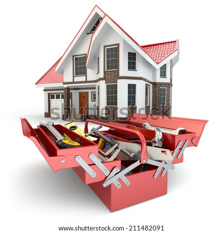 Construction and repair concept. Toolbox with tools and house, 3d - stock photo