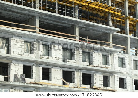 construction apartment building of silicate blocks