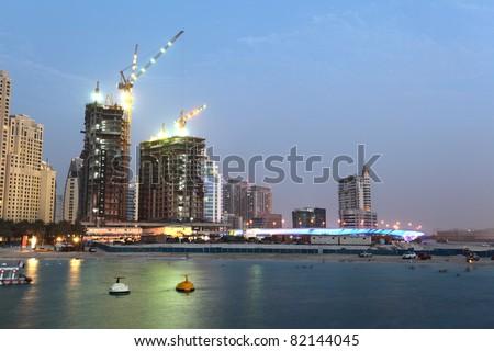 Construction at Jumeirah Beach Residence, Dubai United Arab Emirates - stock photo