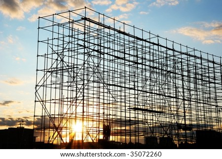 Construction at Sunset - stock photo