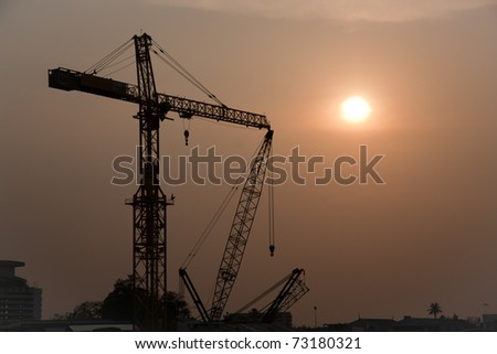 Construction at sunset, Thailand