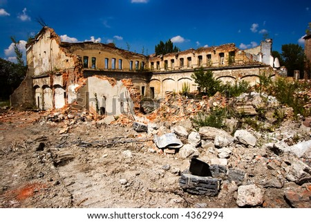 Construction at the old ruins - stock photo