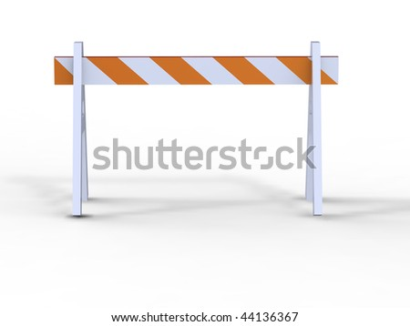 construction barricade - road block icon, isolated - stock photo