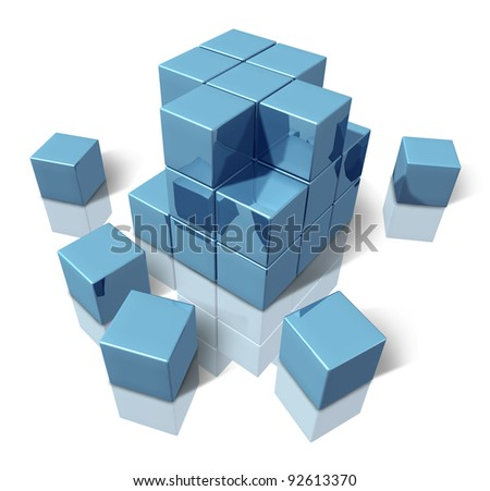 Construction blocks as an abstract 3d structure of basic blue cubes as a geometric organized pattern of building together an organization that works as a team. - stock photo