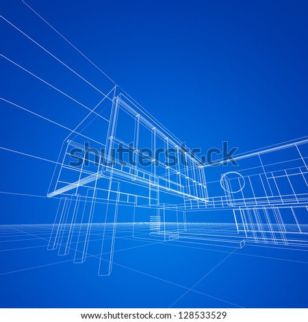 Construction blueprint on blue. My design and 3d model - stock photo