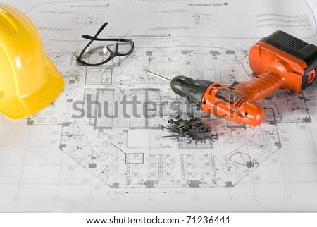 Construction Blueprints - stock photo