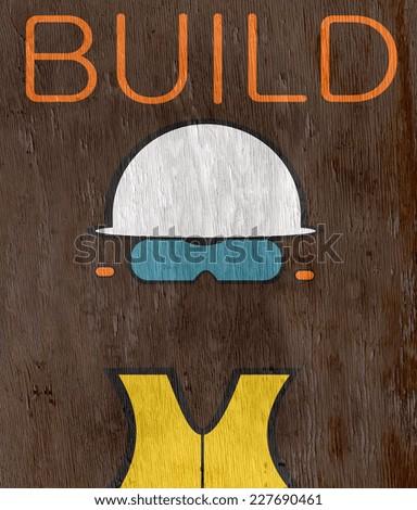 construction build design with wood grain texture - stock photo