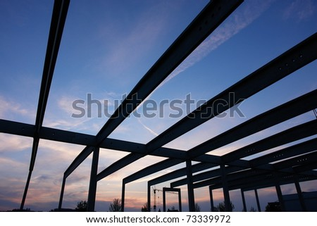 construction building site build scaffold working structure - stock photo