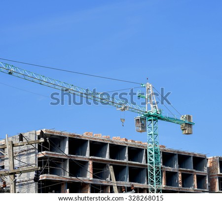 Construction building site on Iron frame stage against blue sky