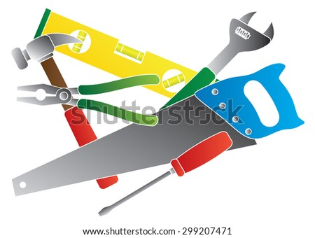 Construction Carpentry Tools Hammer Level Wrench Pliers Wood Saw Screw Driver Collage in Colors Isolated on White Background Raster Illustration - stock photo