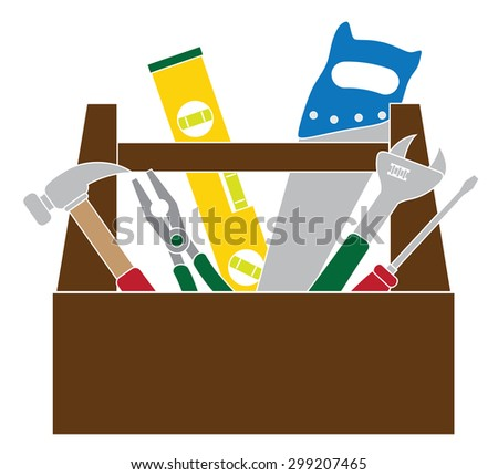 Construction Carpentry Tools Hammer Level Wrench Pliers Wood Saw Screw Driver Toolbox in Color Isolated on White Background Color Raster Illustration - stock photo