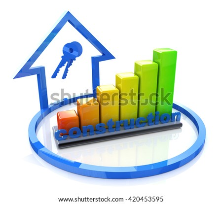 construction chart and the house in the design of access to information relating to the business. 3d illustration - stock photo