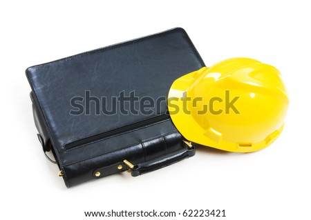 Construction concept - case and hard hat isolated on white - stock photo