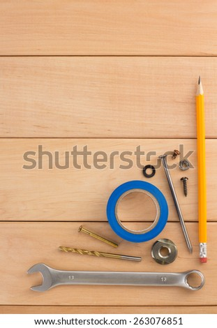construction concept on wooden background - stock photo