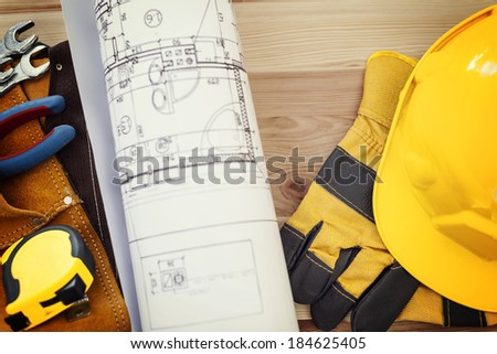 Construction concept with working tools - stock photo