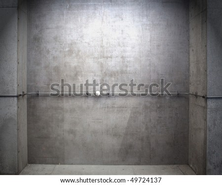 Construction concrete wall with pipe mounted. - stock photo