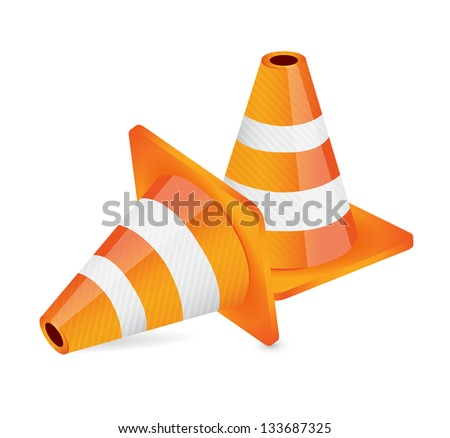 construction cone illustration design over a white background