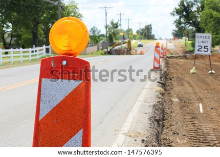 Construction cones on a road  - stock photo