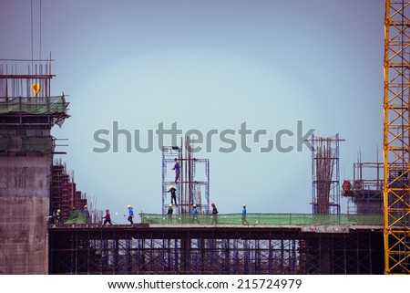 construction construction worker industry background, retro tone image - stock photo