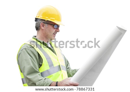 Construction Contractor isolated on White - stock photo