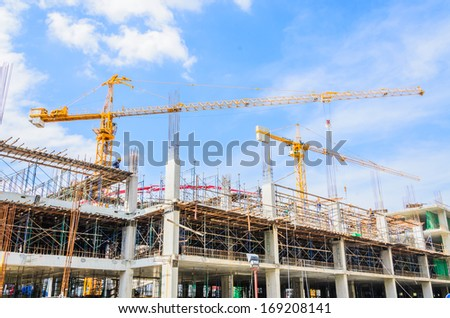 Construction crane building tower